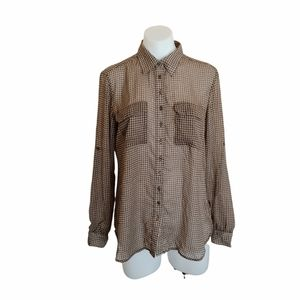 Witchery Size S Brown Check Blouse Long Sleeve